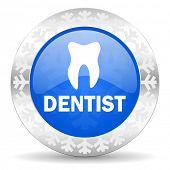 dentist blue icon, christmas button