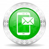 mail green icon, christmas button, post sign