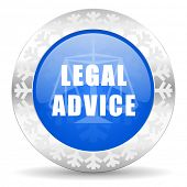 legal advice blue icon, christmas button, law sign