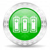battery green icon, christmas button, power sign