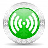 wifi green icon, christmas button, wireless network sign