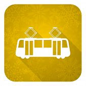 tram flat icon, gold christmas button, public transport sign