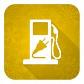 fuel flat icon, gold christmas button, hybrid fuel sign