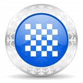 chess blue icon, christmas button