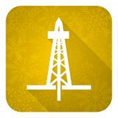 drilling flat icon, gold christmas button