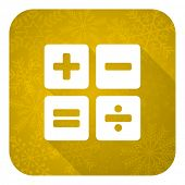 calculator flat icon, gold christmas button, calc sign