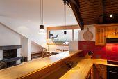 Architecture, comfortable chalet, domestic kitchen view