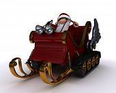 3d render of santat in a snowmobile sleigh