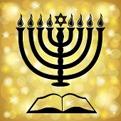 Hanukkah Symbols Over A Golden Light Background
