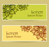 Banners with water color abstract flowers in green yellow brown