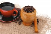 black coffe with dark chocolate and beans