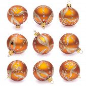 orange christmas balls on white background
