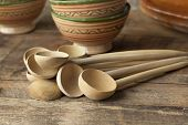 Moroccan wooden soup spoons and traditional bowls