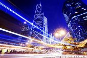 stock photo of hong kong bridge  - traffic in city at night - JPG