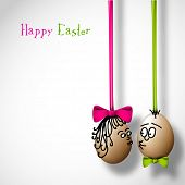 picture of easter card  - Funny easter eggs with a bow  - JPG
