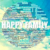 Family concept, family word cloud on sky background