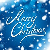 Merry Christmas card with blue background and snowflakes