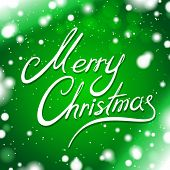 Merry Christmas card with green background and snowflakes