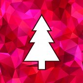 simple christmas tree with red background