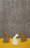 Easter greeting card with rabbits on the wooden frame in brown, yellow, grey and white.