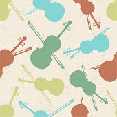 Musical instrument violin and bow with seamless pattern.