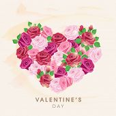 Happy Valentine's Day celebration greeting card with heart shape made by beautiful flowers.