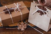 Brown Crochet Snowflakes For Christmas Decoration Of Package And Gift Box
