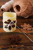Handmade Brown Crochet Snowflakes For Christmas Decoration Of Candle