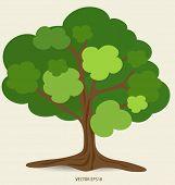 Abstract green tree, vector illustration.