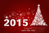 2015 Happy New Year background with Christmas tree. Vector illustration.