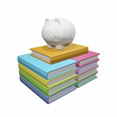 Piggy Bank On A Pile Stack Of Books