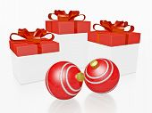 Red Christmas Gifts And Bauble Balls