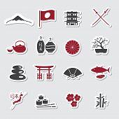 Japanese Theme Stickers Set Eps10