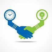 businessmen handshake between men having idea and time stock vector