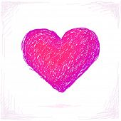 Sketch of heart, Hand drawn isolated design element, Vector