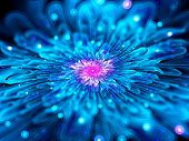 image of computer-generated  - Magic glowing blue fractal flower computer generated abstract background - JPG