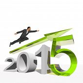 Conceptual 3D human,man or businessman flying  over an green 2015 year symbol with an arrow isolated on white background