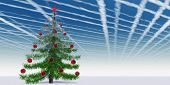 Conceptual Christmas fir tree with globes ornaments and a red star over a blue sky banner