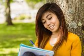 Relaxed female college student doing homework against tree in the park