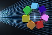 3d colourful cubes in a circle against abstract shiny lines on black background