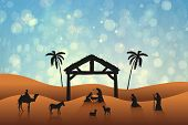 image of nativity scene  - Nativity scene against blue abstract light spot design - JPG
