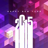 2015 stylish text design with abstract pink and purple shapes background