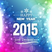 beautiful shiny 2015 greeting with snowflakes on left and right of design