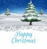Happy christmas against snowy landscape with fir trees