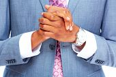 Hands of African American businessman. Business lifestyle