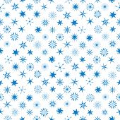 Different Snowflakes At Seamless Pattern