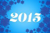 2015 against blue snowflake design frame patternred