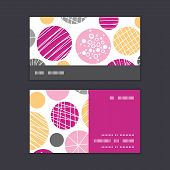 Vector abstract textured bubbles horizontal stripe frame pattern business cards set