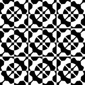 Abstract Circle and Square Pattern. Vector Seamless Monochrome Background. Regular Flower Texture