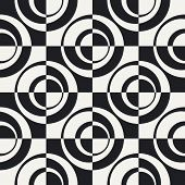 Abstract Ring and Square Pattern. Vector Seamless Monochrome Background. Regular Checkered Texture